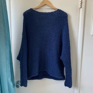 Free People Sweaters - Free People Oversized Chunky Sweater M Blue